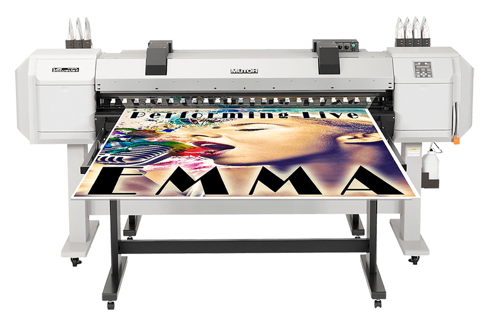 Solvent printer with art